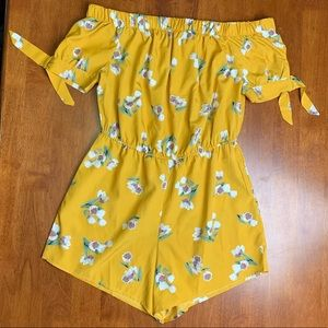 Pants - yellow floral off the shoulder romper